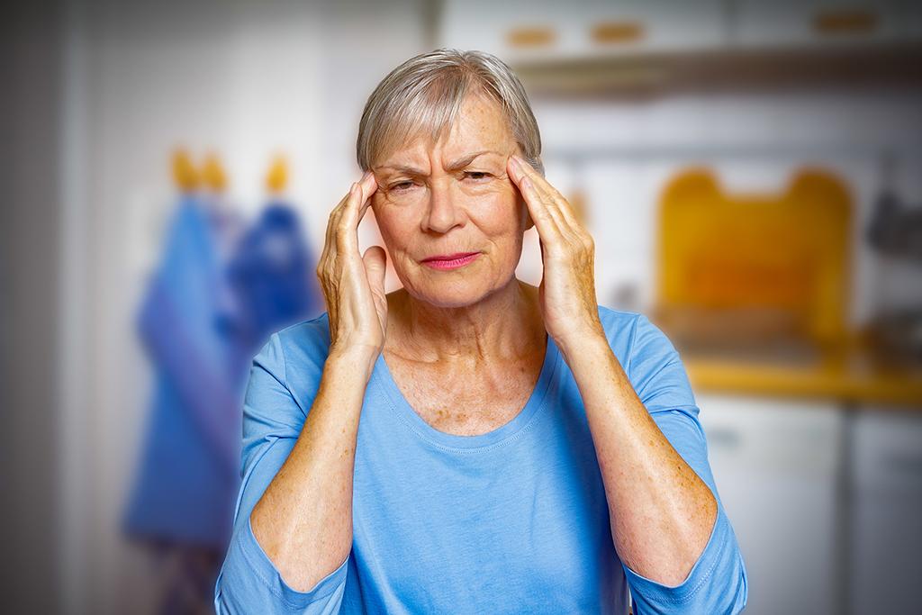 Giant cell arteritis: elderly woman suffering from acute headache.